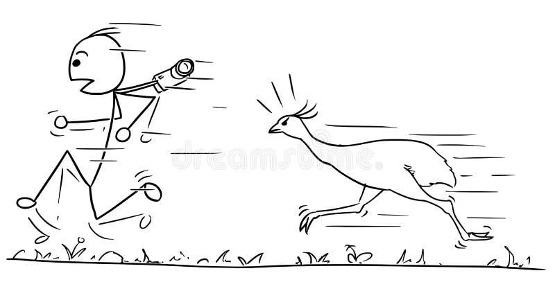 Wektorowa Stickman kreskówka mężczyzna Działający Daleko od Podążać Wielkim Bi ilustracja wektor