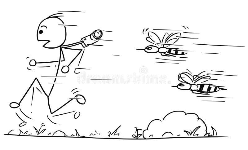 Wektorowa Stickman kreskówka Męski Turystyczny Działający Daleko od Podążać obok ilustracja wektor