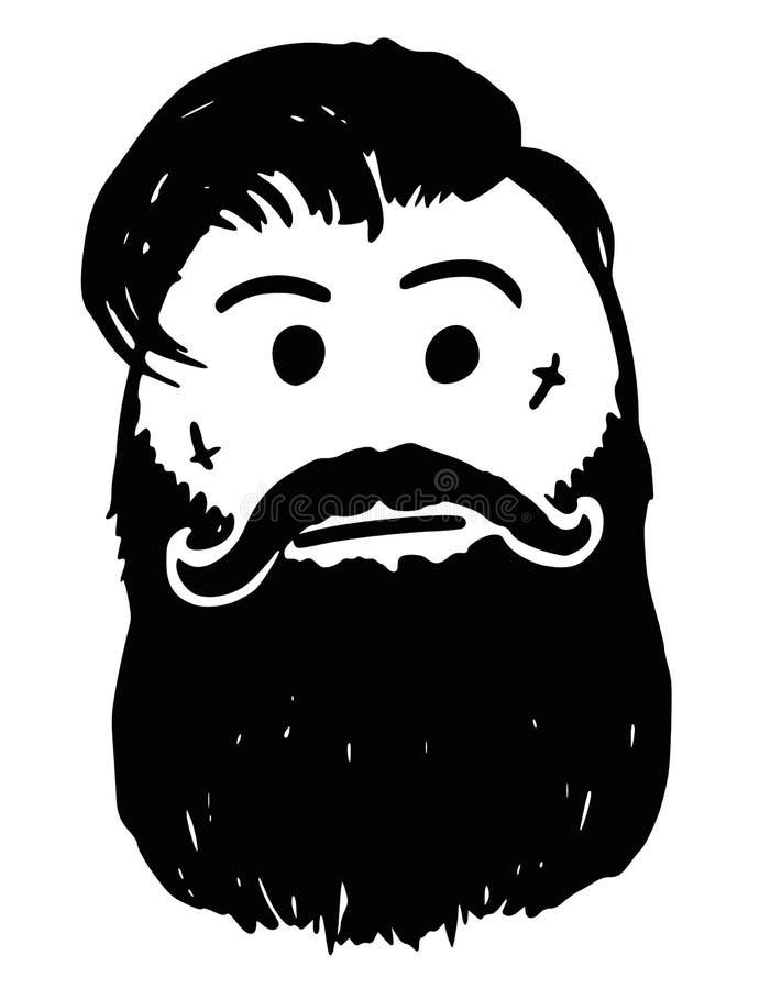 Wektorowa Stickman kreskówka modniś z Twarzowym tatuażem, wąsy ilustracja wektor