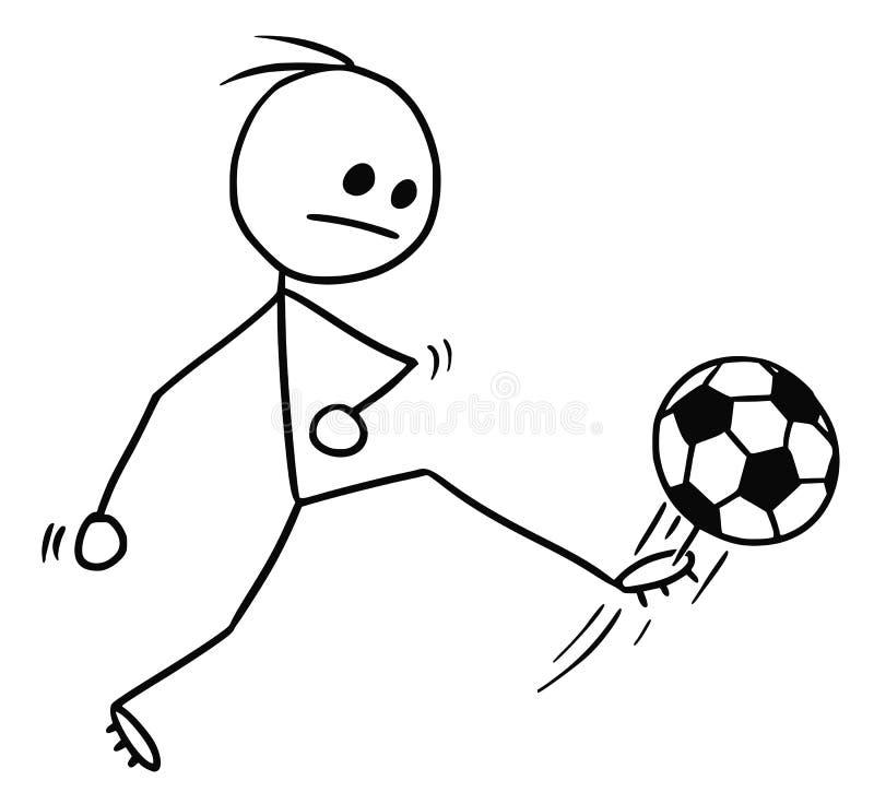 Wektorowa Stickman kreskówka piłka nożna gracza futbolu kopanie ilustracja wektor