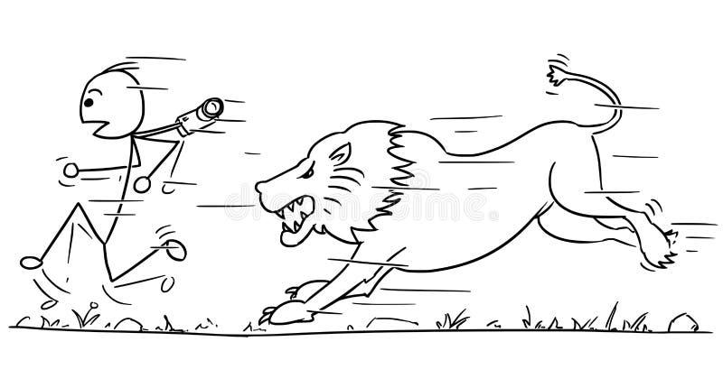 Wektorowa Stickman kreskówka Turystyczny bieg Zdala od lwa ilustracji