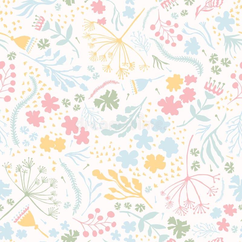 Wektorowa stokrotka kwiatu łąka Ręka rysujący bezszwowy wektoru wzór ilustracji