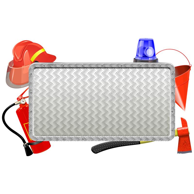 Wektorowa strażaka metalu deska ilustracji