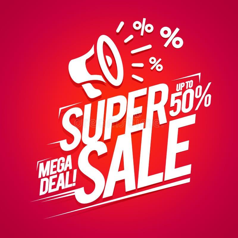 Wektorowa Super sprzedaży oferta, Mega transakcja rabaty, Reklamowy Plakatowy projekt Z Płaskim ikona głośnikiem ilustracji