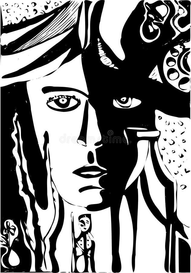 Wektorowa surrealistyczna i fantazja ilustracja z kobiety twarzą, żołnierz, butelka, rośliny, telefon royalty ilustracja