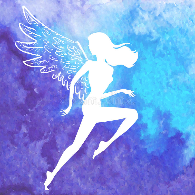 Wektorowa sylwetka biegać oskrzydlonej kobiety ilustracji