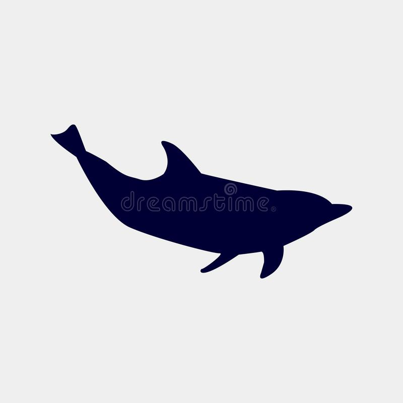 Wektorowa sylwetka delfin na białym tle ilustracji