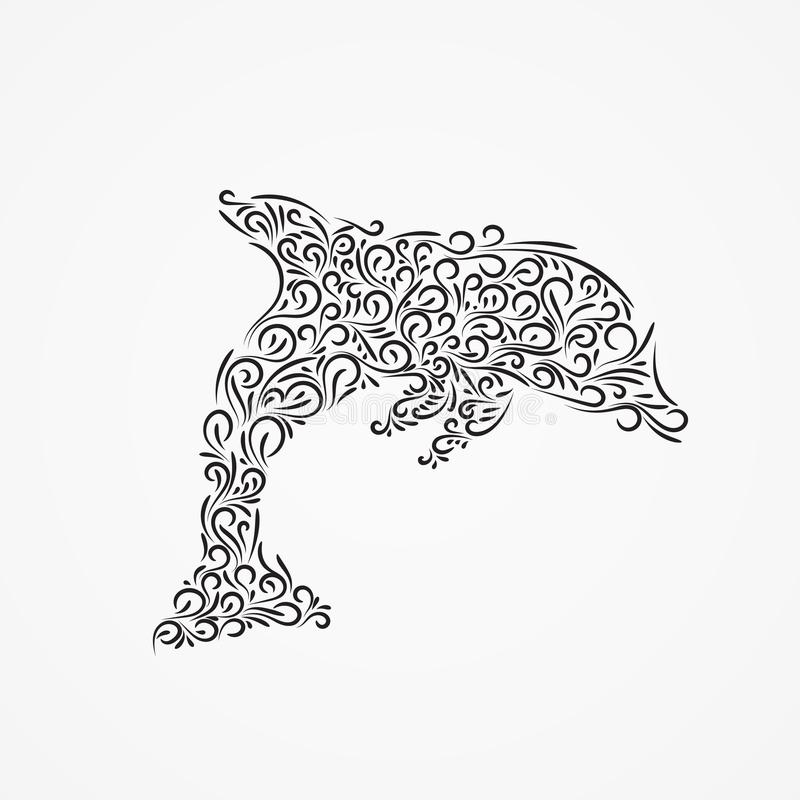 Wektorowa sylwetka delfin ozdobne formy royalty ilustracja