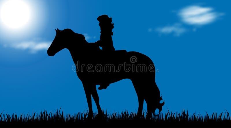 Wektorowa sylwetka dziecko z koniem ilustracja wektor