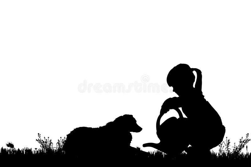 Download Wektorowa Sylwetka Dziewczyna Z Psem Ilustracji - Ilustracja złożonej z opieka, szczęśliwy: 57658384