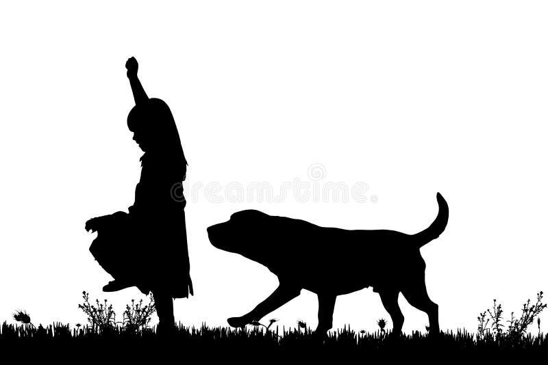 Download Wektorowa Sylwetka Dziewczyna Z Psem Ilustracji - Ilustracja złożonej z szczęśliwy, piękny: 57658394