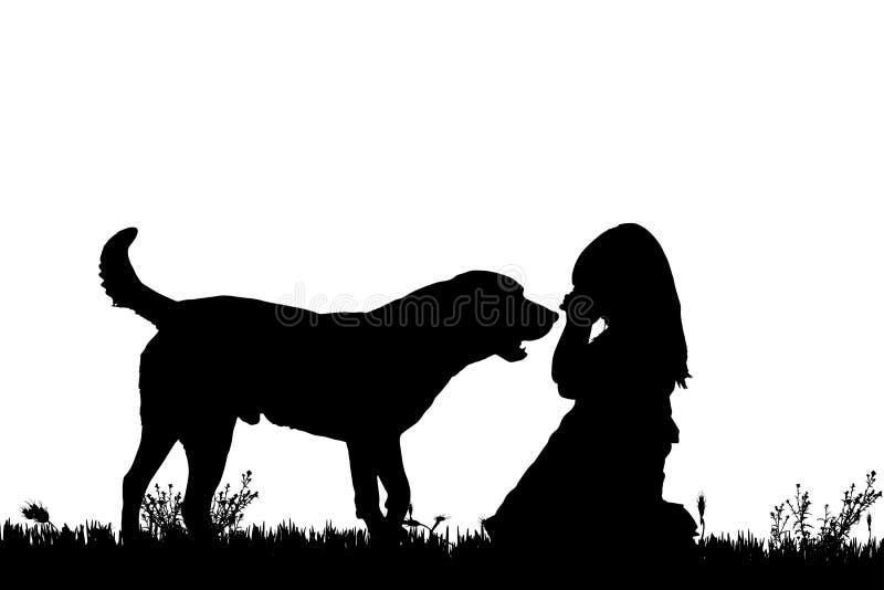 Download Wektorowa Sylwetka Dziewczyna Z Psem Ilustracji - Ilustracja złożonej z trawy, wygoda: 57658545