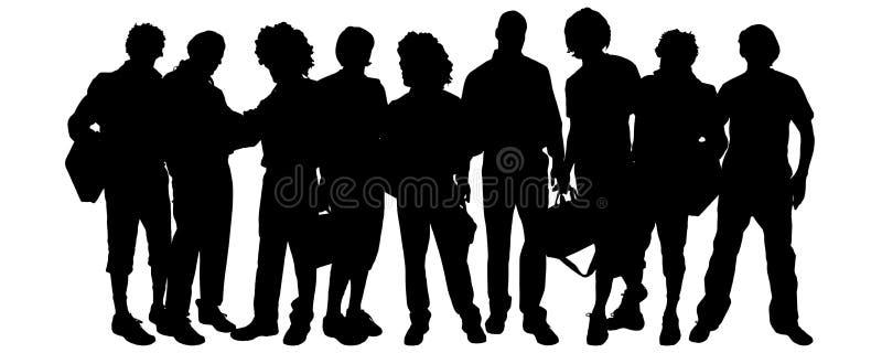Download Wektorowa Sylwetka Grupa Ludzi Ilustracji - Ilustracja złożonej z przyjaciel, biznes: 57661542