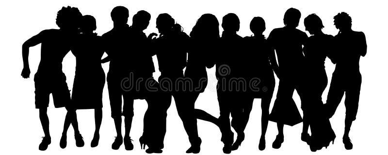 Download Wektorowa Sylwetka Grupa Ludzi Ilustracji - Ilustracja złożonej z para, kierownik: 57661622