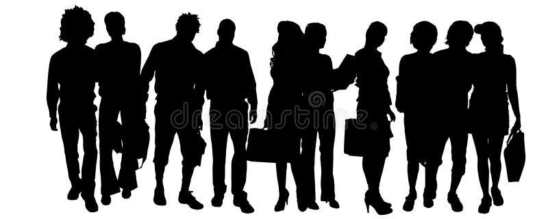 Download Wektorowa Sylwetka Grupa Ludzi Ilustracji - Ilustracja złożonej z dosyć, tło: 57661661