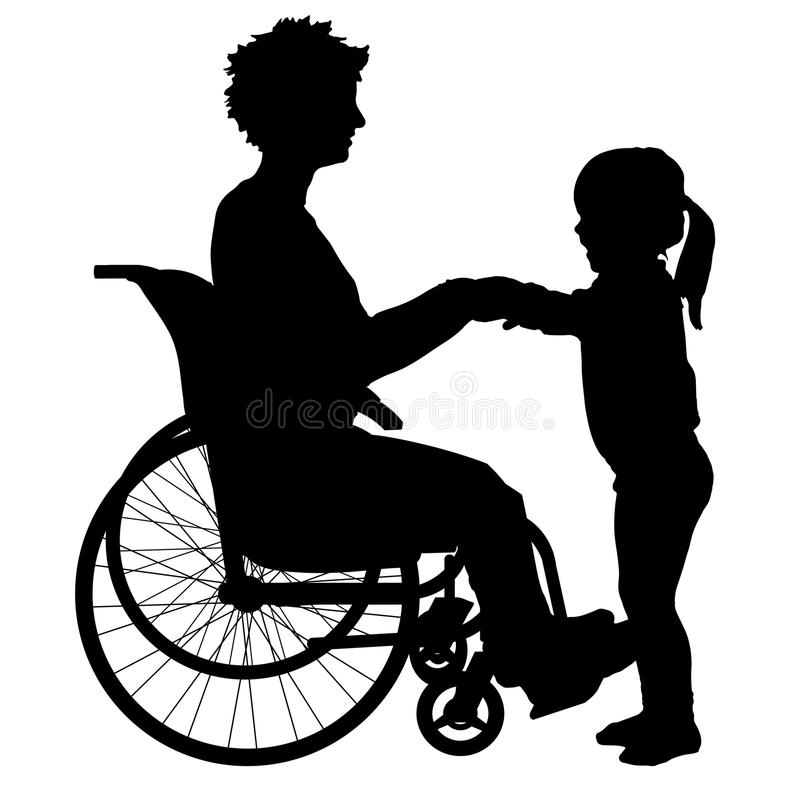 Download Wektorowa sylwetka kobieta ilustracji. Ilustracja złożonej z wheelchair - 57658659