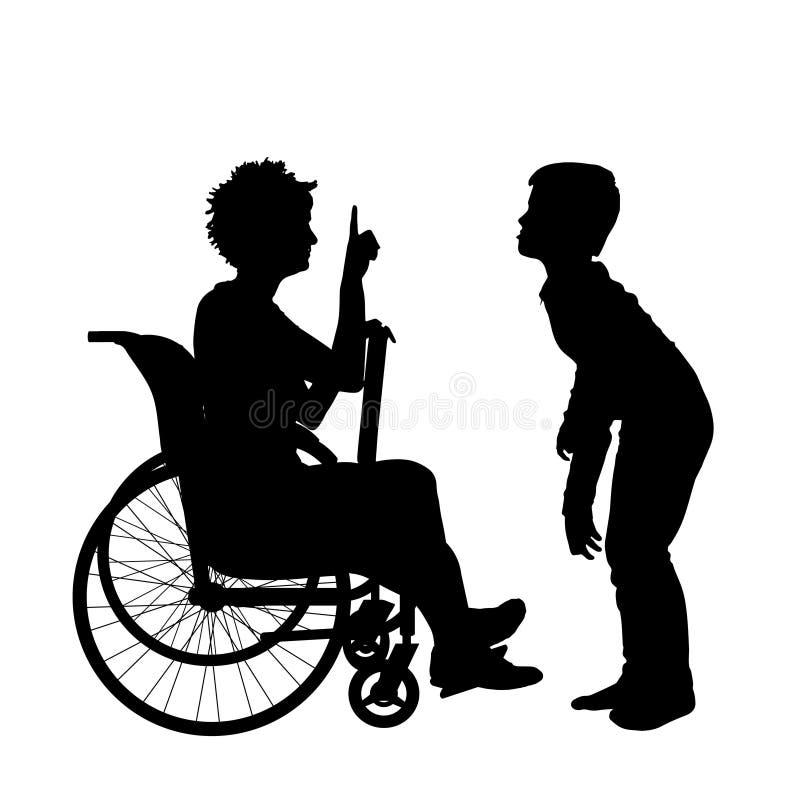 Download Wektorowa sylwetka kobieta ilustracji. Ilustracja złożonej z niepełnosprawny - 57658770