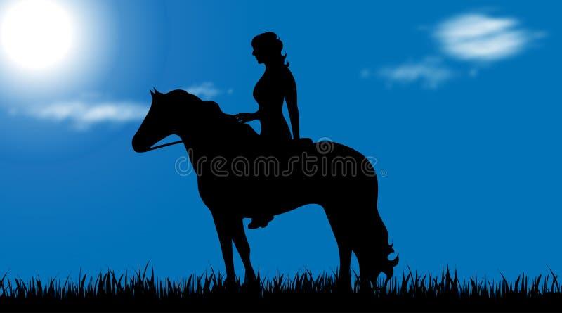 Wektorowa sylwetka kobieta z koniem ilustracji