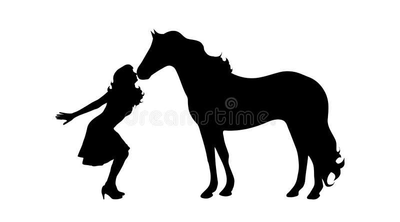 Wektorowa sylwetka kobieta z koniem ilustracja wektor