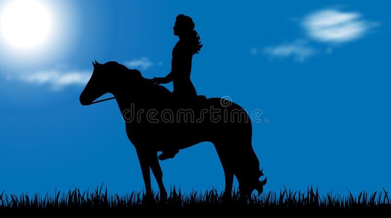 Wektorowa sylwetka mężczyzna z koniem ilustracji
