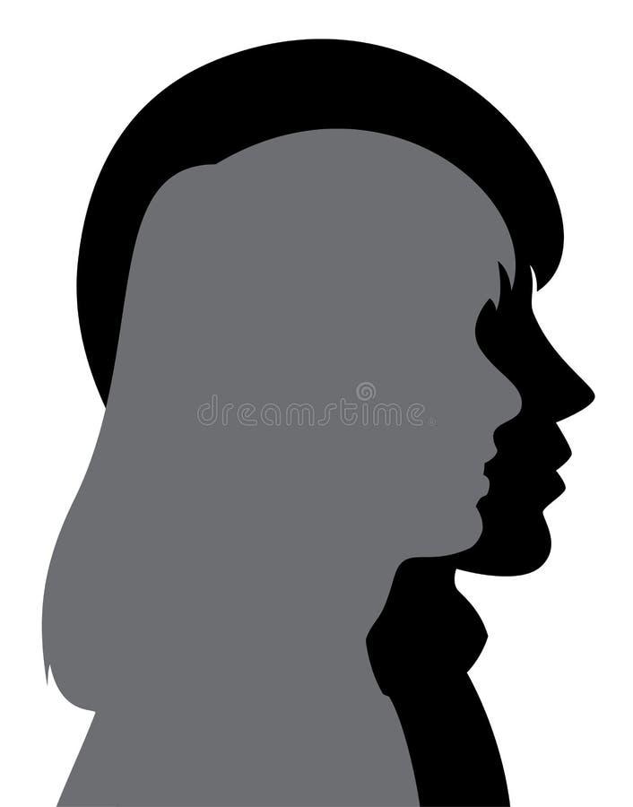 wektorowa sylwetka młody człowiek i kobieta ilustracja wektor