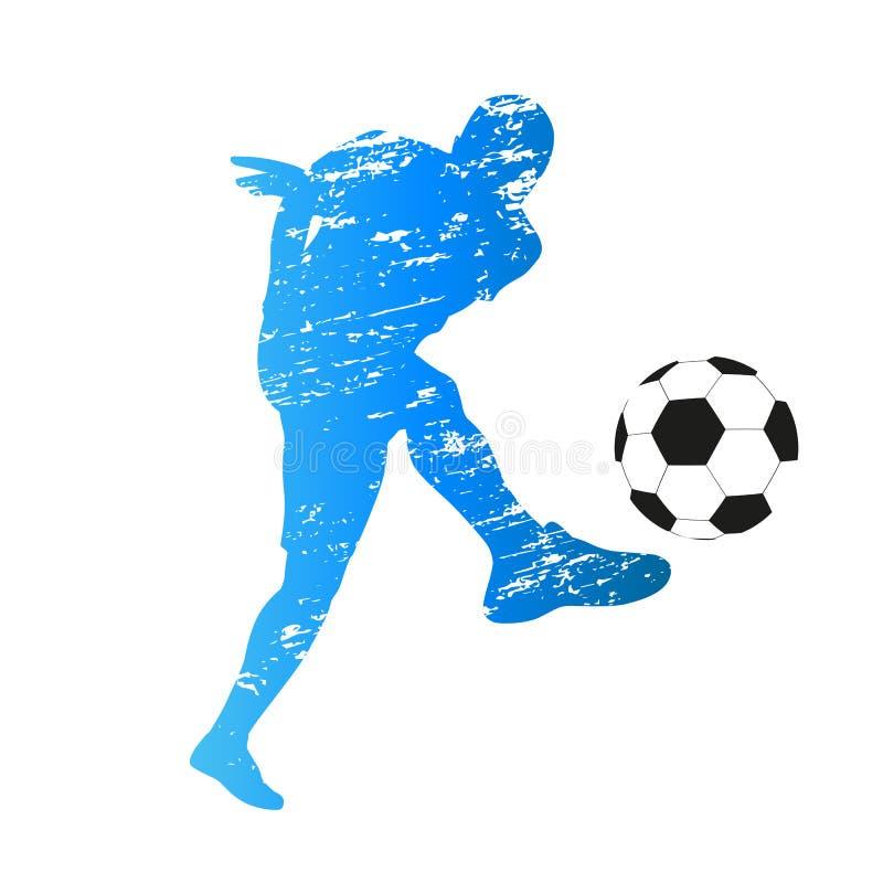 Wektorowa sylwetka młody gracz piłki nożnej ilustracji
