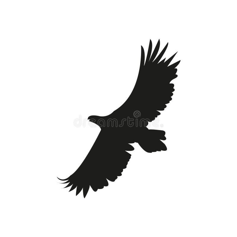 Wektorowa sylwetka orzeł w locie z skrzydłami rozprzestrzeniającymi royalty ilustracja