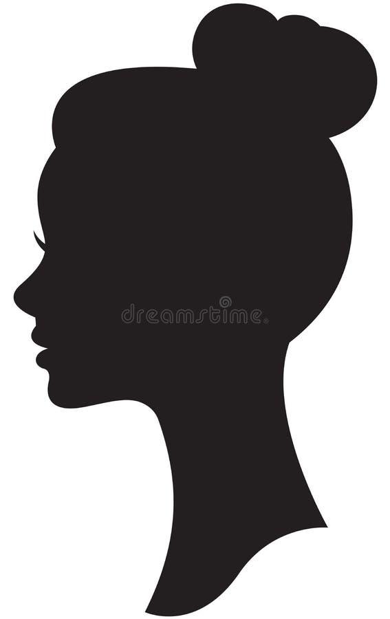 Wektorowa sylwetka panna młoda z ślubnym fryzura portretem ilustracja wektor