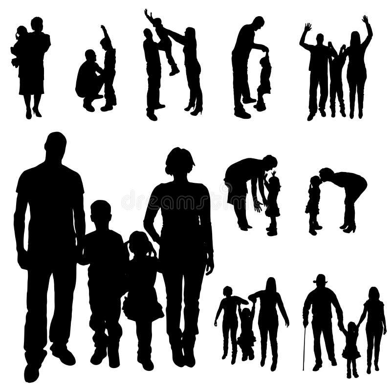 Wektorowa sylwetka rodzina royalty ilustracja