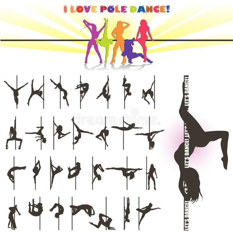 Wektorowa sylwetka słupów tancerze royalty ilustracja