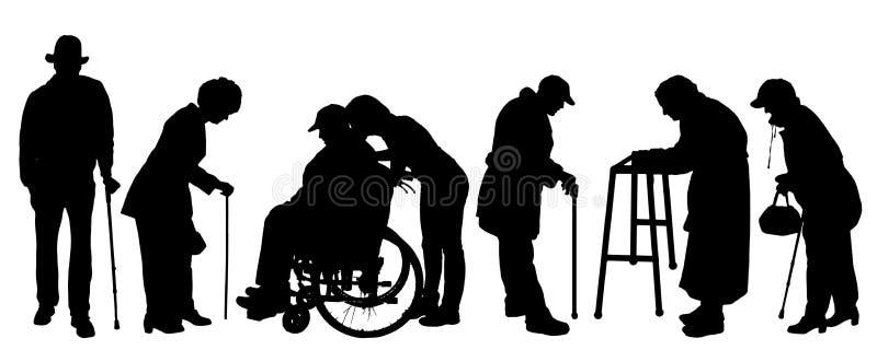 Wektorowa sylwetka starzy ludzie ilustracja wektor
