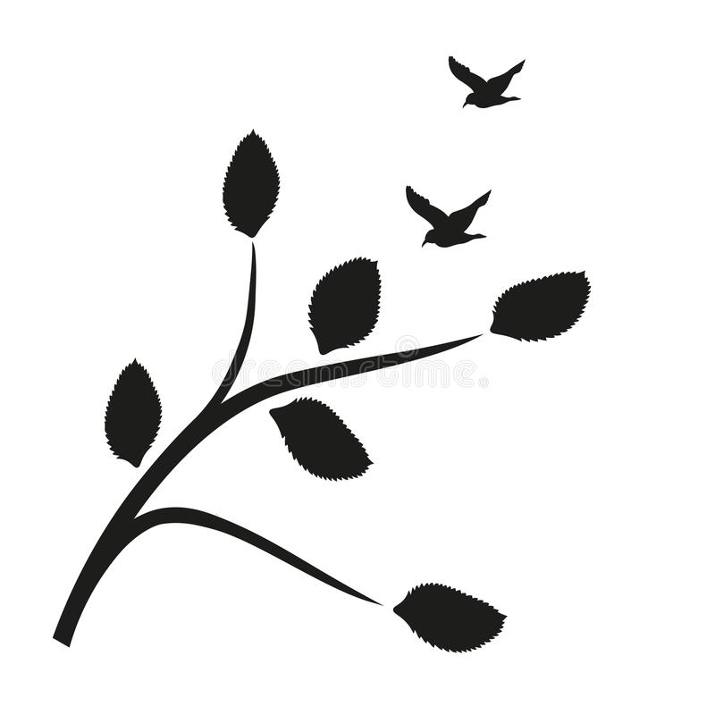 Wektorowa sylwetka wiosna ptaków siedzieć i gałąź, wektorowa ilustracja royalty ilustracja