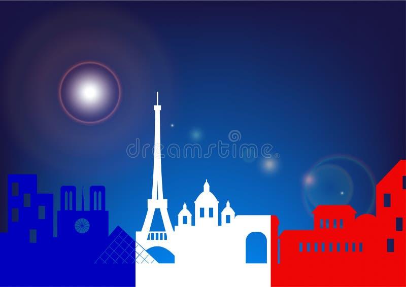 Wektorowa sylwetki linia horyzontu Paryż nocą z francuz flaga ilustracji