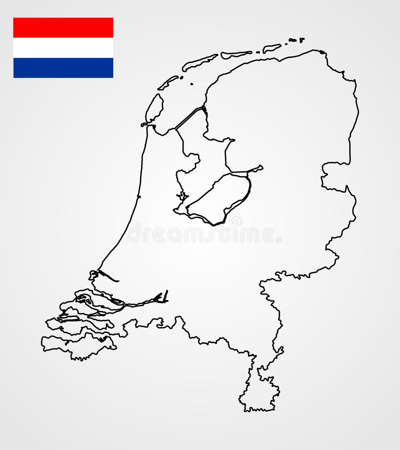 Wektorowa sylwetki mapa i flaga holandie ilustracji