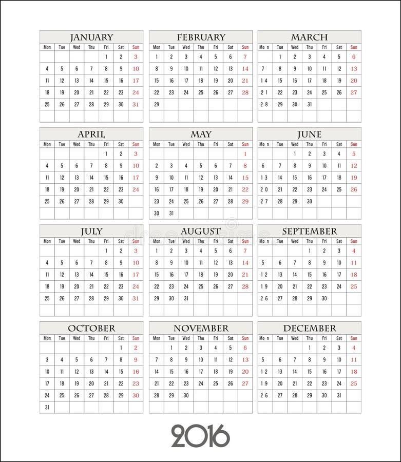 Wektorowa szablonu kalendarza siatka dla 2016 ilustracji