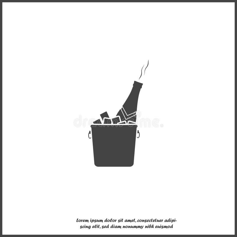 Wektorowa szampańska butelki ikona w lodowym wiadrze na białym odosobnionym tle Warstwy grupowa? dla ?atwej edytorstwo ilustraci  ilustracja wektor
