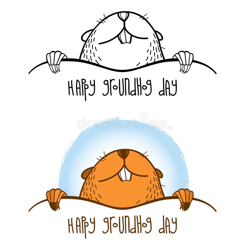 Wektorowa Szczęśliwa Groundhog dnia karta z konturu ślicznym groundhog, świstak lub woodchuck w odosobnionym na białym tle czarny royalty ilustracja