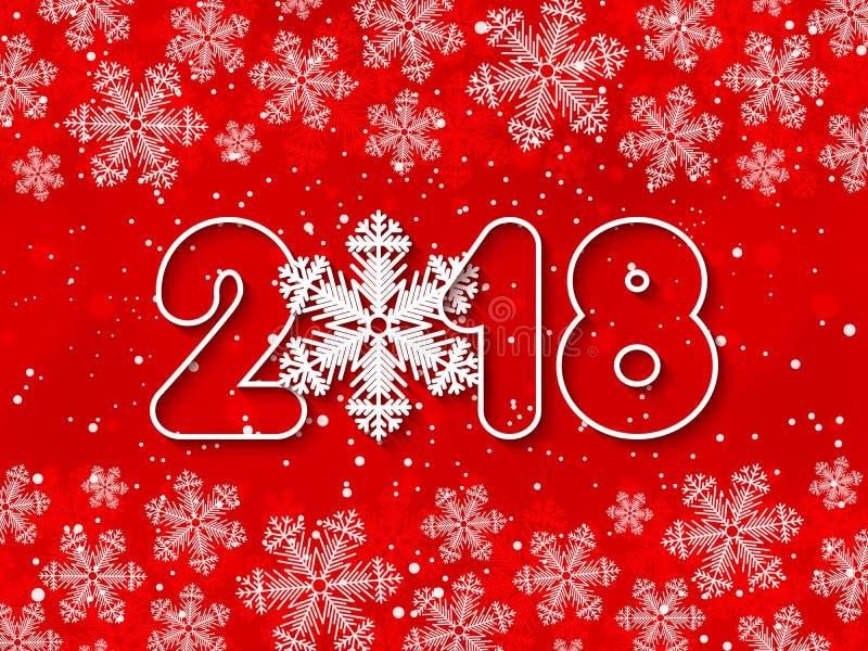 Wektorowa Szczęśliwa nowy rok 2018 czerwień papierowa ciie out tło ilustracja wektor