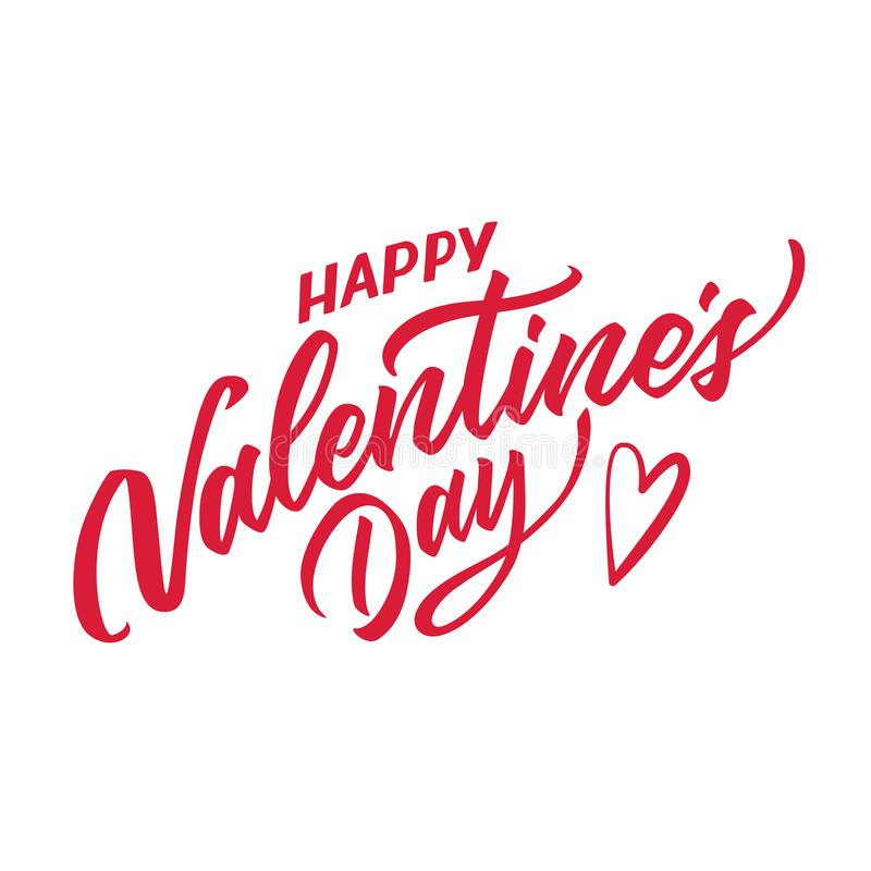 Wektorowa szczęśliwa ręka rysujący valentines dnia literowanie ilustracja wektor