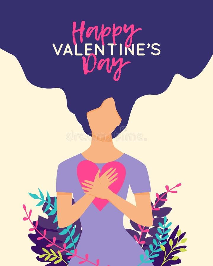 Wektorowa Szczęśliwa walentynka dnia ilustracja z piękną kobietą otaczającą roślinami trzyma serce Modna kartka z pozdrowieniami, ilustracja wektor