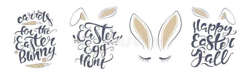 Wektorowa Szczęśliwa Wielkanocnego królika literowania karta wycena projektować kartkę z pozdrowieniami, plakat, sztandar, printa royalty ilustracja