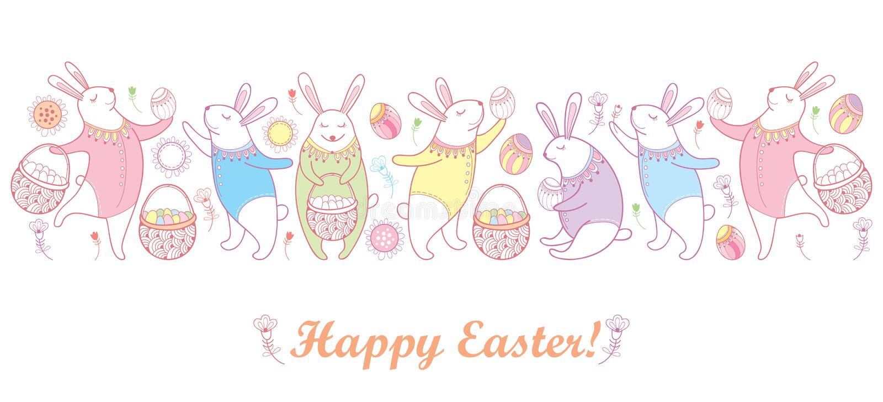 Wektorowa Szczęśliwa wielkanocy granica z królikiem, jajkiem i koszem w pastelowych kolorach odizolowywających na białym tle kont ilustracja wektor