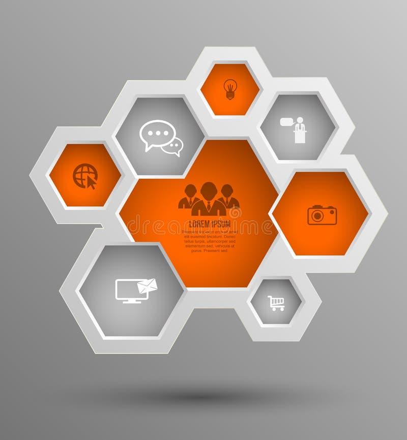 Wektorowa sześciokąt grupa z ikonami dla biznesowych pojęć ilustracja wektor