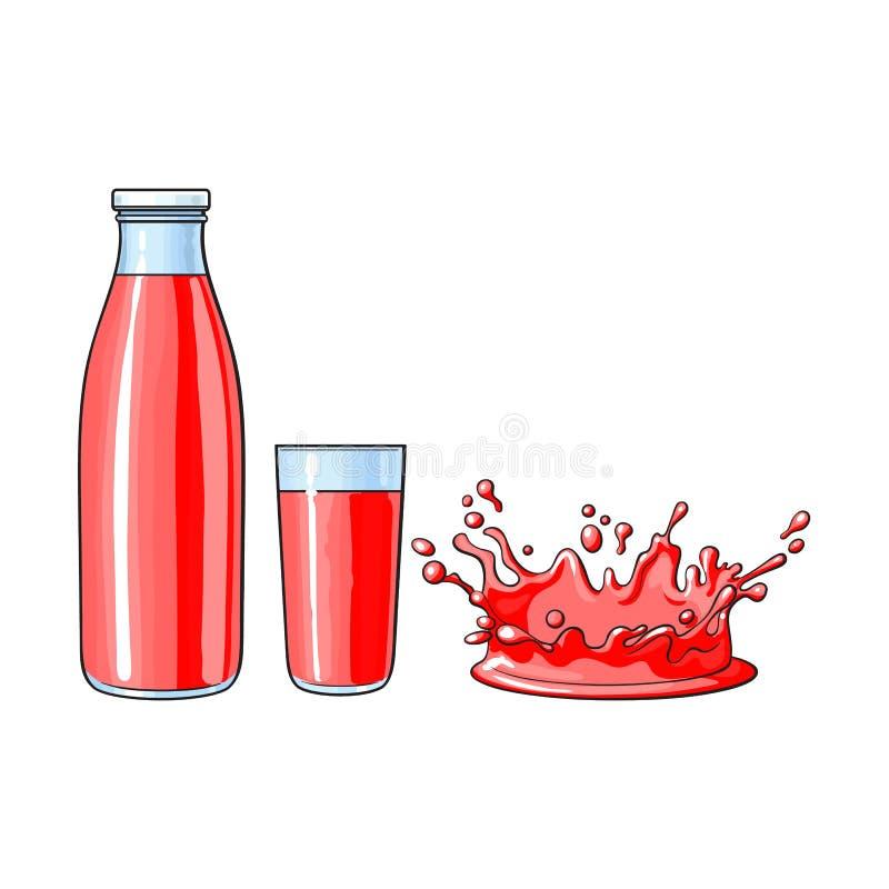 Wektorowa szklana filiżanka, butelka, pluśnięcia sok kropla royalty ilustracja