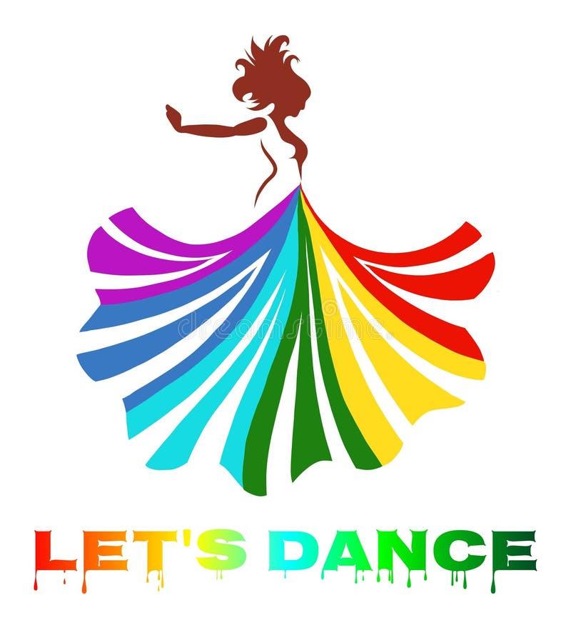 wektorowa sztuka piękna dancingowa dama z colourful suknią ilustracji
