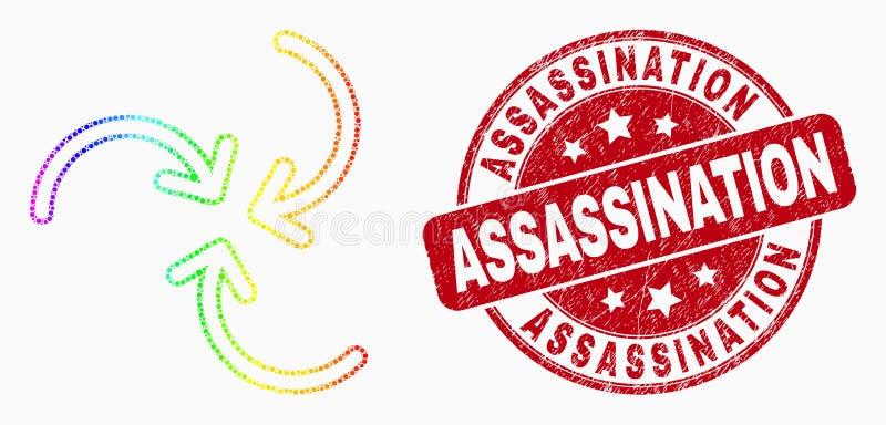 Wektorowa tęcza Barwiąca Pixelated zawijasa strzał ikona i Grunge zabójstwa Watermark ilustracji