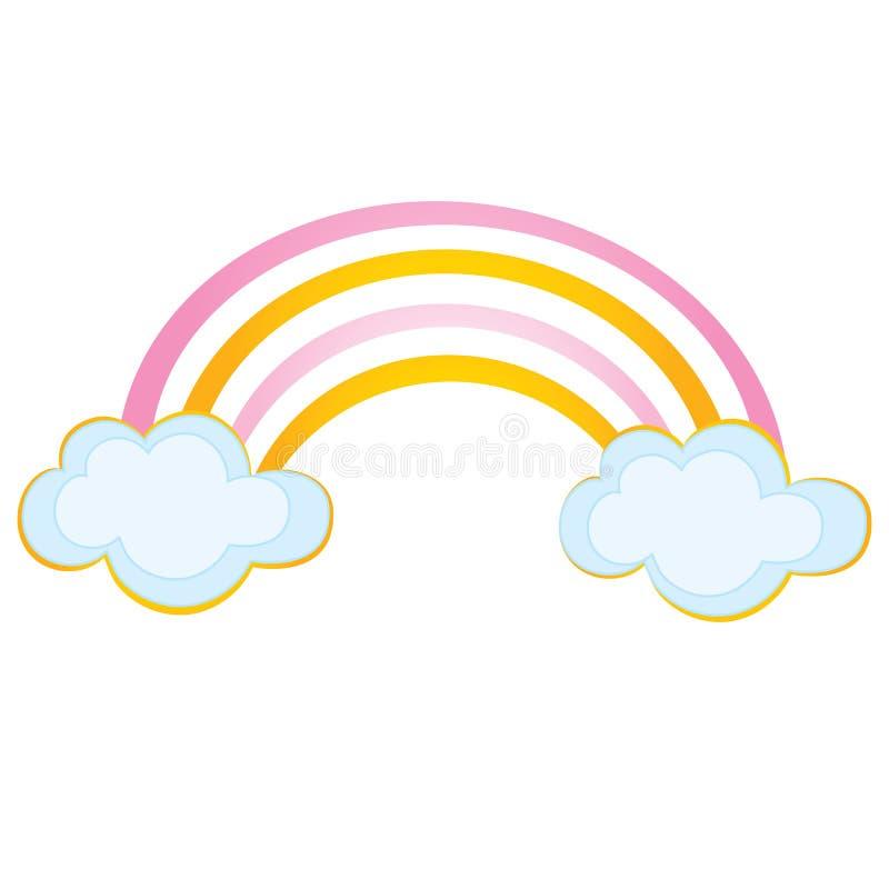 Wektorowa tęcza z chmurami royalty ilustracja