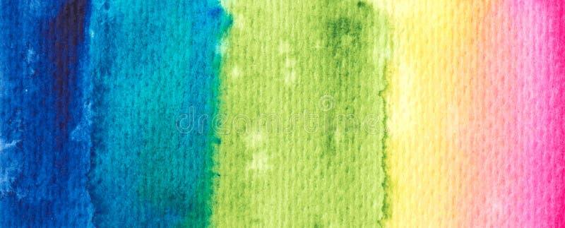 Wektorowa tęczy farby tekstura - akwarela horyzontalny sztandar dla Twój projekta royalty ilustracja