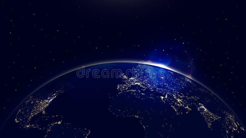 Wektorowa tło planety ziemia z wschodem słońca w przestrzeni i miasta światłach royalty ilustracja