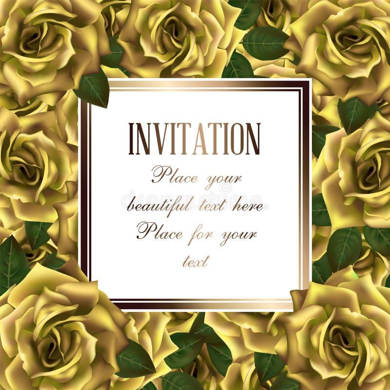 Wektorowa tło rama z żółtymi różami i miejsce dla teksta ilustracja wektor